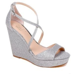 Badgley Mishka Jewel glitter platform wedges 7.5